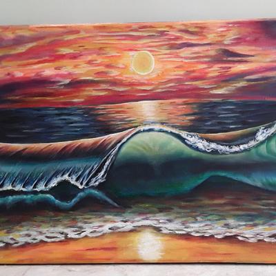 نقاشی غروب دریا