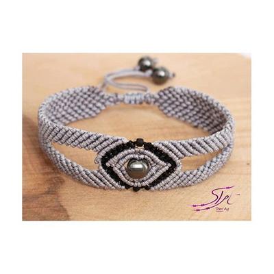 دستبند بافت مردانه با سنگ حدید