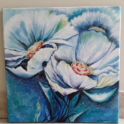 نقاشی گلهای سفید
