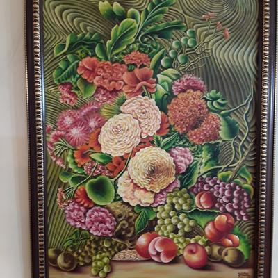 نقاشی طرح میوه و گل و چوب