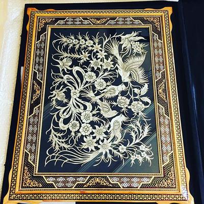تابلو دست ساز قلم زنی طرح گل و مرغ
