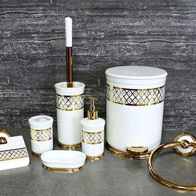 فول ست سطل و برس سفید طلایی، قیمت دایرک