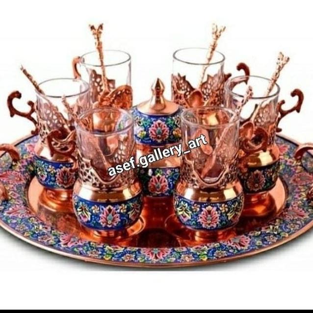 سرویس چایخوری طرح مس و پرداز