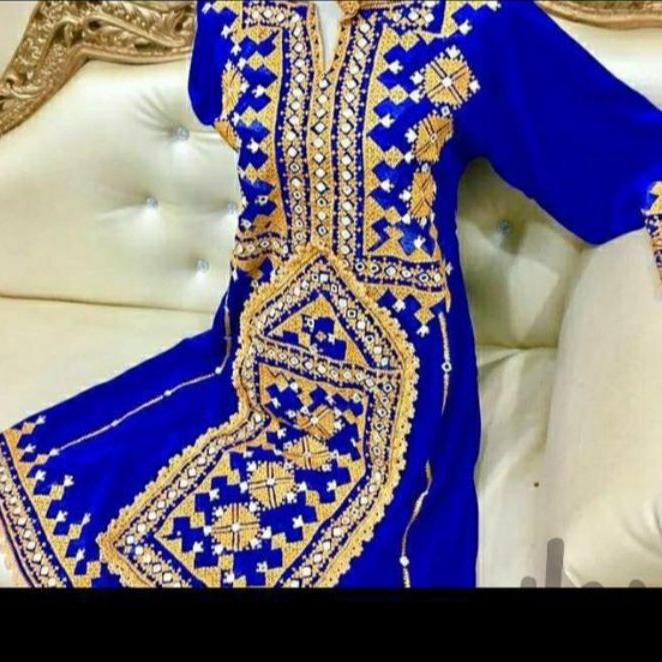 لباس ابریشم آبی سوزن دوزی