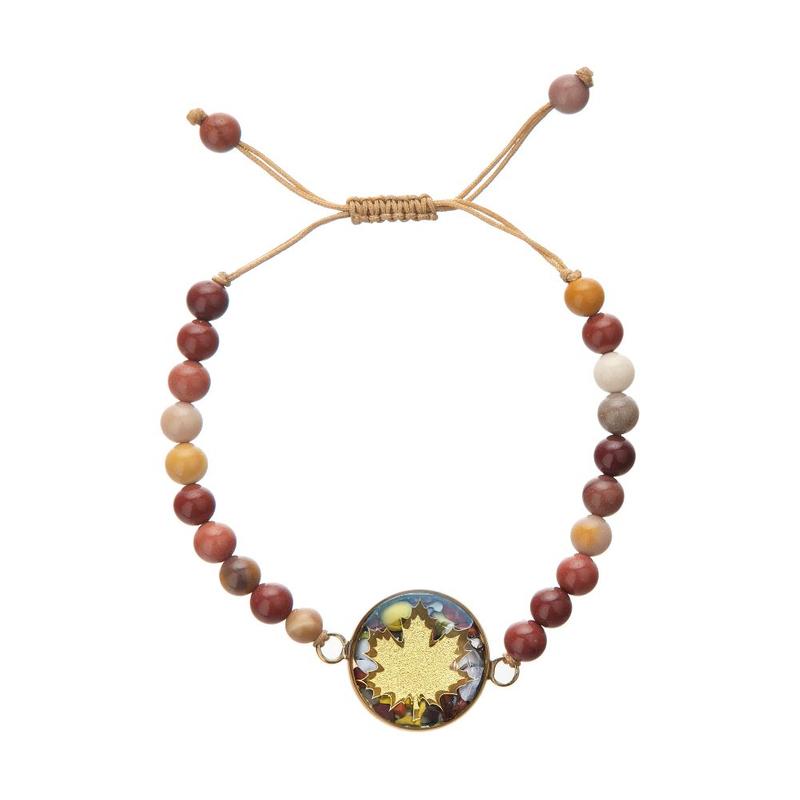 دستبند ورق طلا 24 عیار جاسبر برگ پاییزی