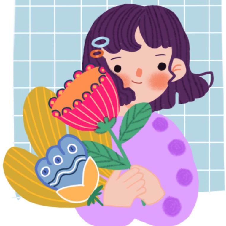 استيكر دختر با دسته گل