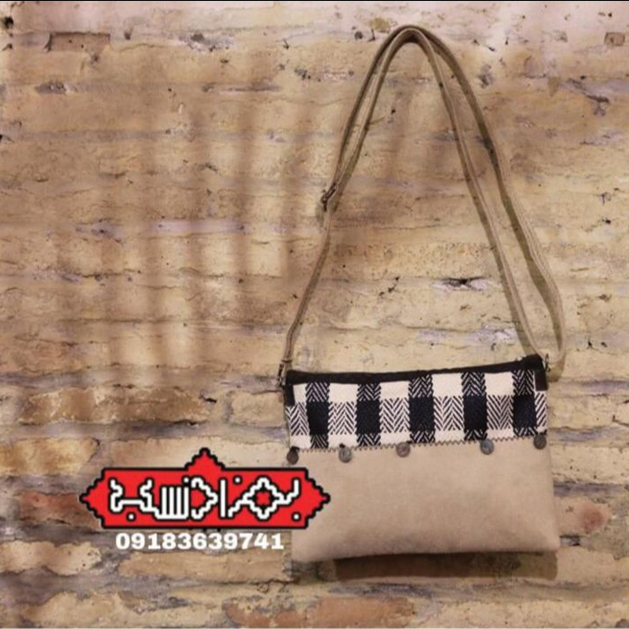 کیف سکه ای تمام نبوک تزئین شده با جاجیم