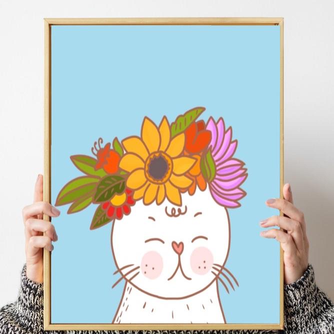 گربه گل به سر